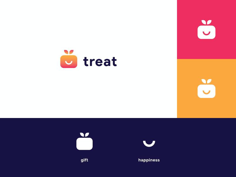 Treat App - Logo Concept #2 icon mark logo design modern gift app treat app mobile blue orange pink gradient gift box happiness smile gift minimalist identity branding logo