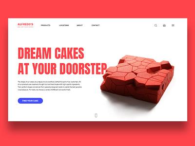 Alfredo's - Online Cake Selling Website ecommerce geometric cakes cake adobe photoshop product design uiux design photoshop graphic design web design typography ui design trends adobe design