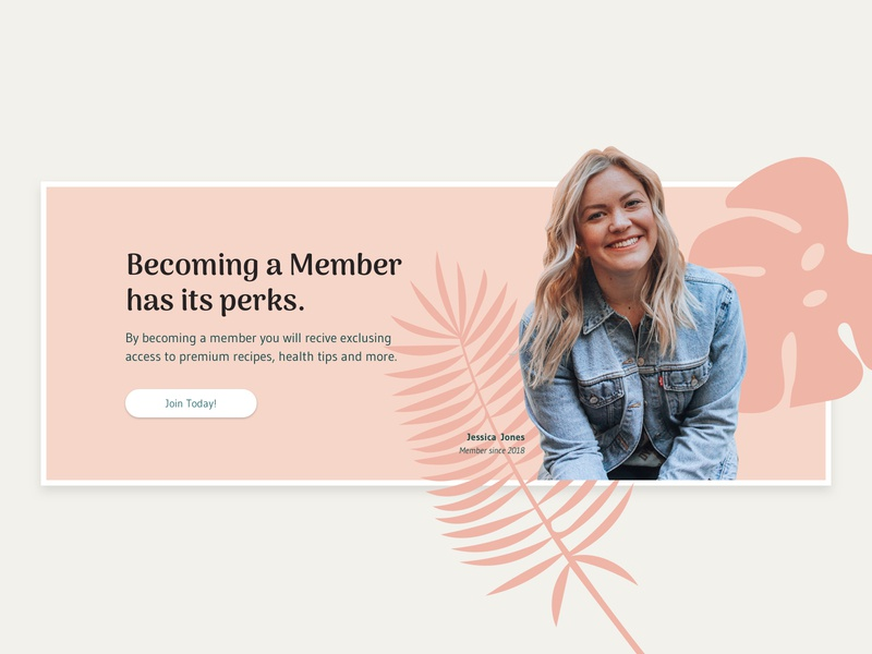 Become a Member - Call to Action Banner recipes banners pink clean minimal web