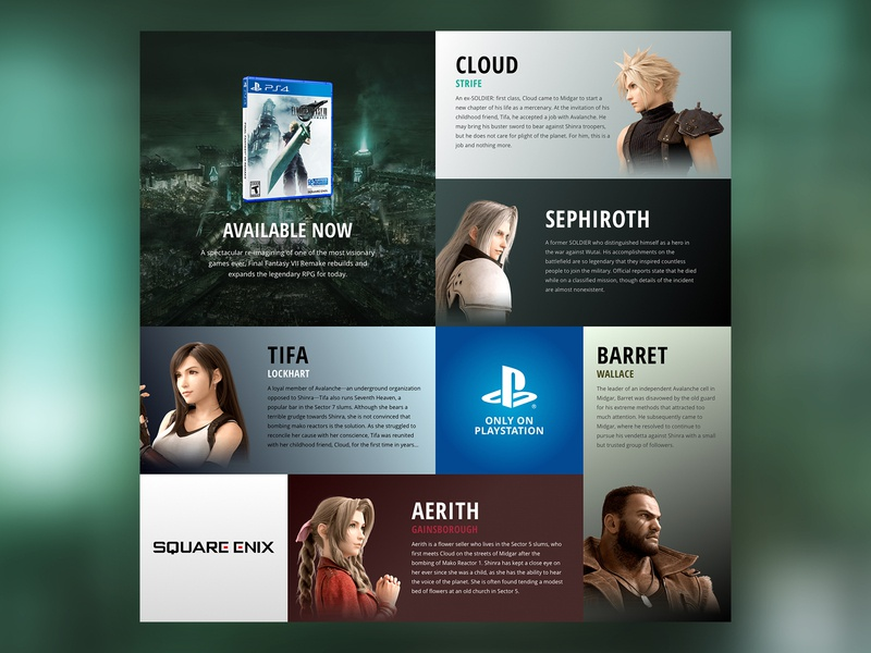 Final Fantasy 7 - Character Sheet - CSS Grid Excercise responsive layout final fantasy videogame ui css grid css