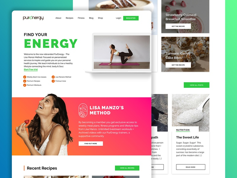 Health & Wellness website layout webdesign bright gradient fitness ui homepage