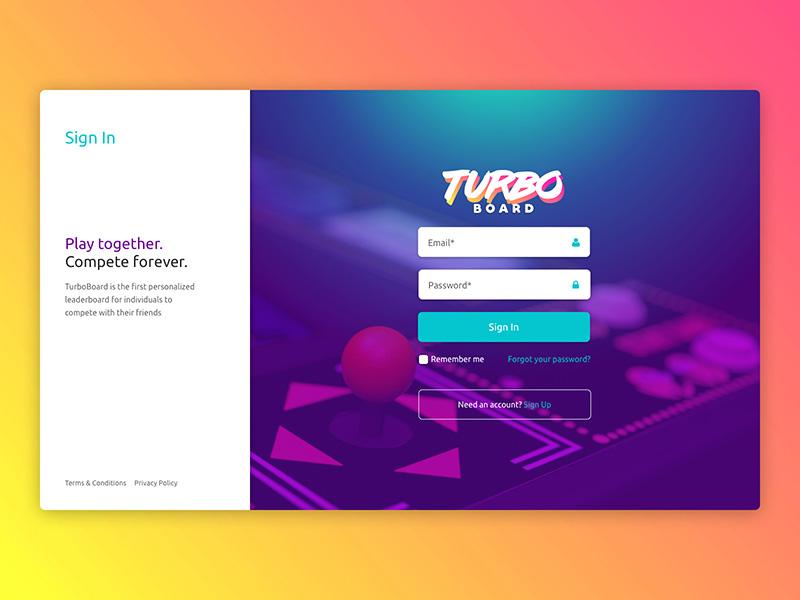 Turbo Board Sign In Screen login sign in leaderboard video game ui