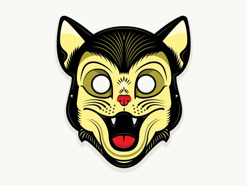 Plastic Horror - Black Cat Mask 50s 1950 horror black cat cat illustration t-shirt mask halloween