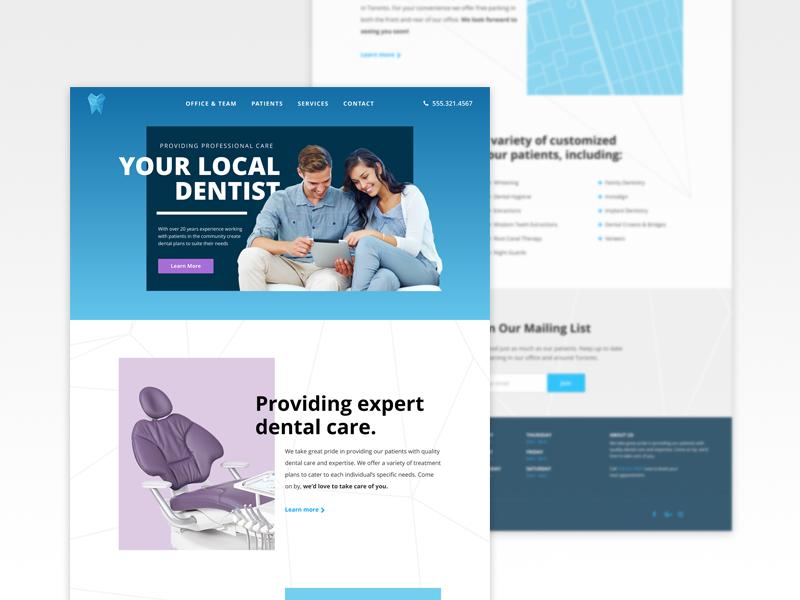 Dental Website UI / UX smile branding medical homepage dentist dental website