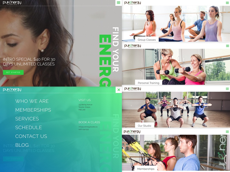 Purenergy Wellness Lofts yoga energy ux full screen responsive fitness