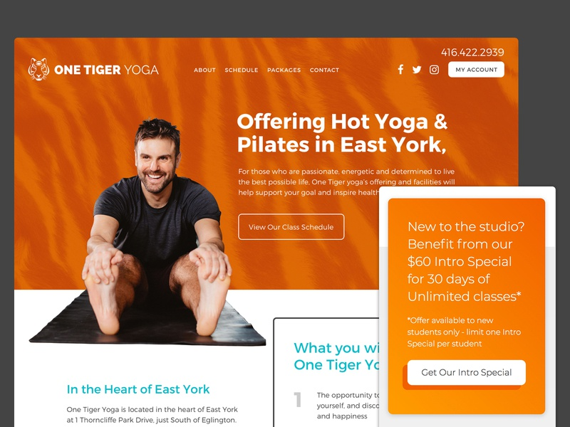 One Tiger Yoga & Pilates css clean adaptive responsive ui ux tiger pilates yoga fitness