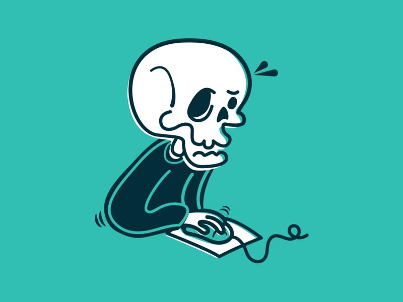 Skeleton Crew crew simple line drawing cartoon skull illustraion
