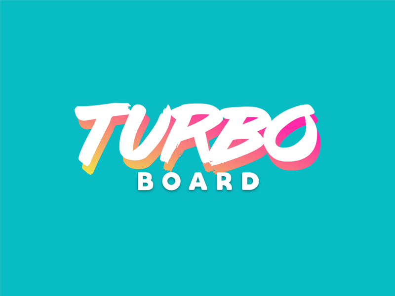 Turbo Board branding logo 80s video games typography retrowave