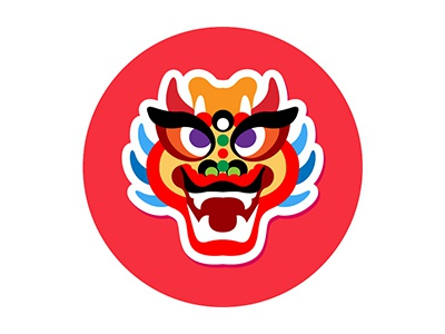 chinese new year dragon dance flat icon asian culture dragon dance lion dance chinese new year
