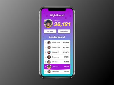 Daily UI - 019 - Leaderboard for mobile game