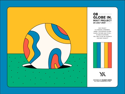 GLOBE IN - 08 line art pattern shapes abstract colors grass yellow blue green minimal vector drawing globe illustration