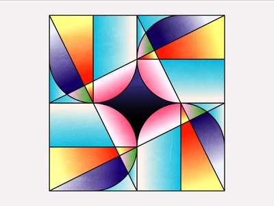 The Weel - 09 vector drawing shapes palette pink bleu gradient lineart abstract system design colorful fan weel colors pattern design minimal illustration