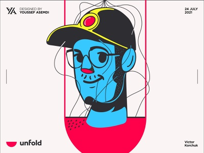 Victor. avatar pen tool character unfold clean people simple minimal vector illustration