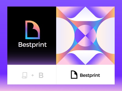 Bestprint negative space b logo paper print typography identity logomark branding brand logo