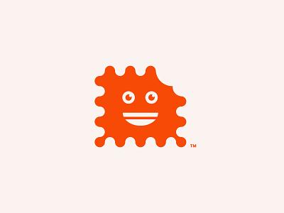 Biscuit! bite orange face cute smile biscuit logomark minimal logo