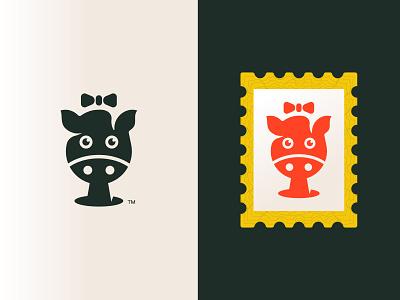 BAGRA farm frame icon symbol mark lovely fun cute milk animal cow minimal branding logomark logo