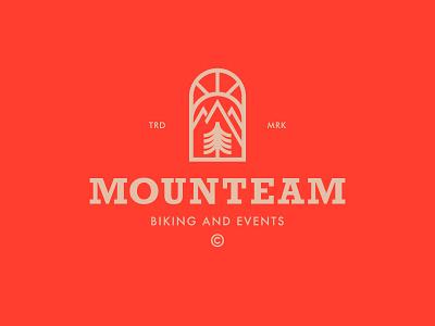 Mounteam nature mountains sun tree sports biking outdoorks slab typography logomark logo branding
