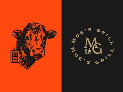 Moe's grill first exploration. monogram lamb restaurant fastfood cow grill brand typography identity logomark minimal logo branding
