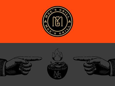 Moe's grill. cow grill fastfood fresh illustration typography identity logomark minimal logo branding