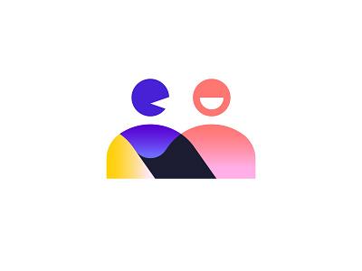 Meet.io 🤝 colorful modern talk chat people meet logomark logo branding