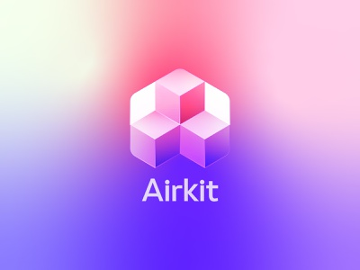 Airkit - Unused concept cube gradient tech code logomark 3d identity blocks logo branding