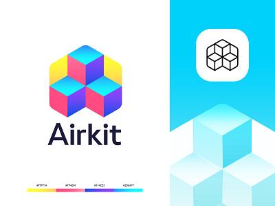 Airkit. icon logo 3d startup tech blocks code kit air identity logomark branding