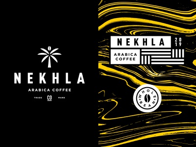 NEKHLA pattern lable badge monogram illustration minimal typography packaging coffee logomark identity brand logo branding tree