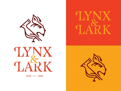 LYNX & LARK food restaurant dog lion bird lynx lark animal design icon monogram illustration mark minimal typography logomark identity brand logo branding