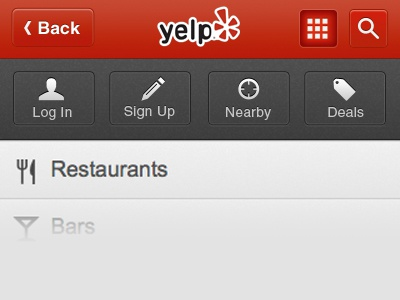navigation for mobile site trendy grey menu buttons yelp