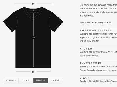 product sizing shirt size shopping fashion grey outline everlane