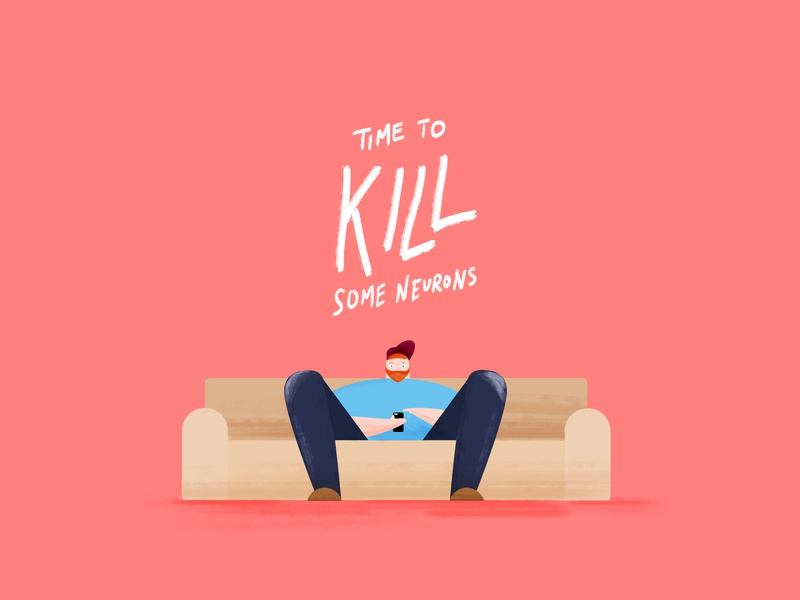time to kill some neurons illustrator time to kill style frame typography vector graphic pink neurons phone guy couch design dude illustration