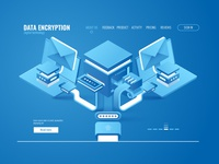 Data encryption. Isometric
