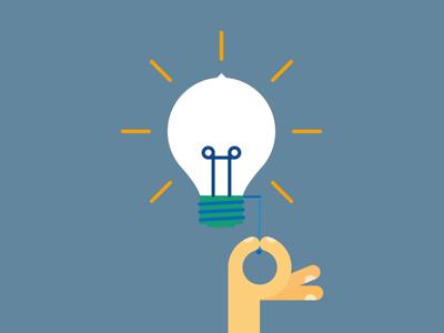 Idea!  flat lamp hand vector light idea bulb animation like