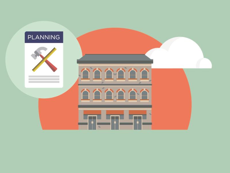 Refurbishing the House!  idea flat animation illustration vector house tools plans cloud old refurbishing