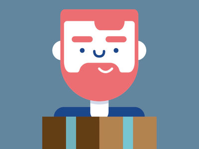 Surprise!  surprise illustration flat person happy package animation idea vector beard simple clean