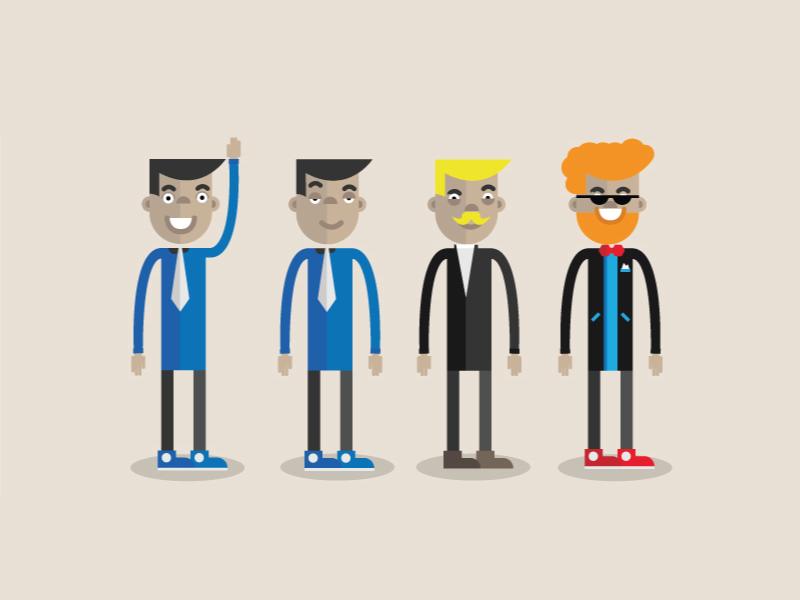 Klaas klaas character design flat vector many forms wig secret agent fun