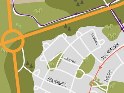 Map!  map vector flat design illustration route running event fun gieten netherlands drawing lines