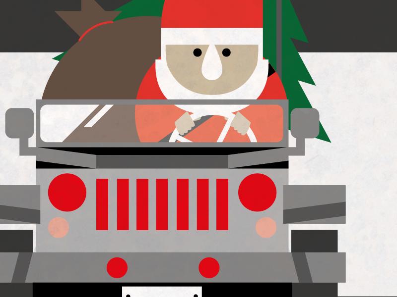 Early Christmas christmas santa tree jeep 4x4 illustration flat colors nose driving