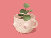 CupA illustrator procreate nipple neature plant green girl feminist feminine female cup