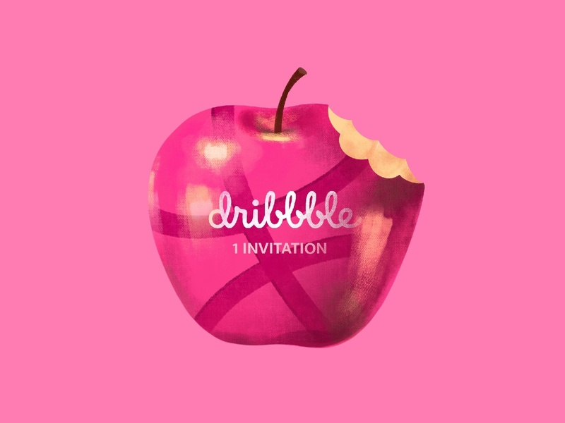 dribble apple pinkapple apple paint sweet pink dribbleinvite invite dribbble invite procreate illustrator illustraion design dribbble