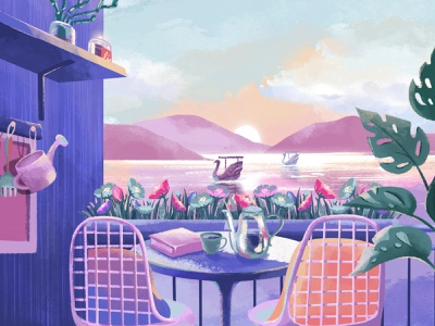 Sweet balcony terrace plant flowers decorative lagoon lake swan swamp procreate balcony girl sweet illustrator
