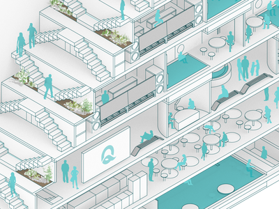 Quotidian Water Park isometric waterpark architecture