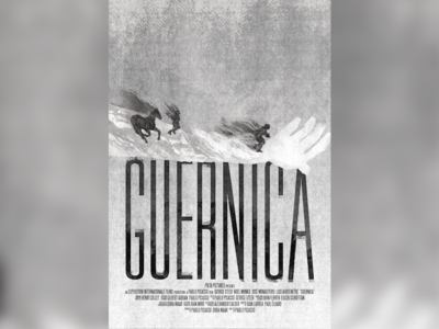 Silverscreen Guernica black and white arm horse hand title guernica movie poster picasso spanish civil war spain film poster billing block