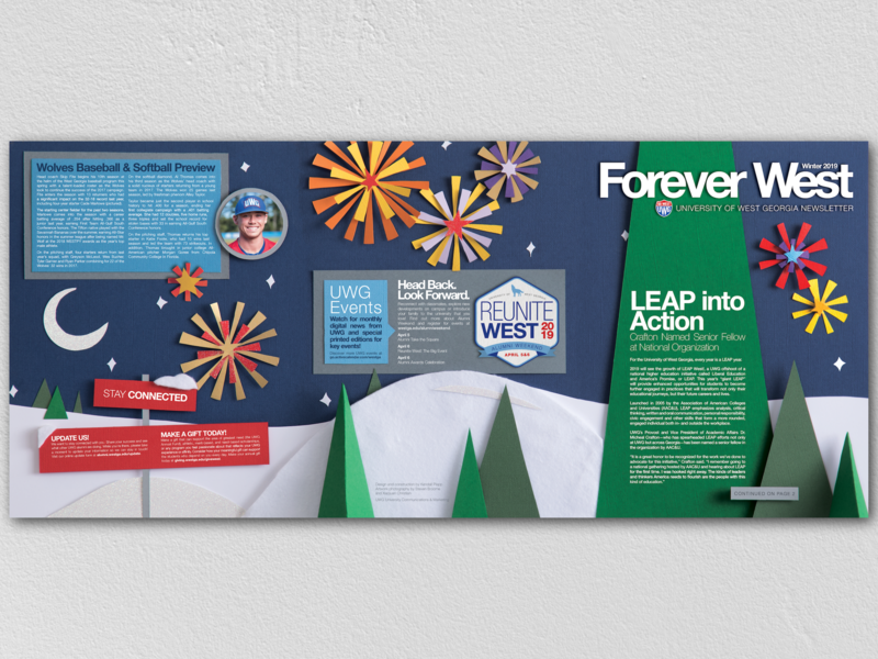 Forever West W2019 #1 physical tactile alumni university of west georgia uwg moon stars snow fireworks design trees paper illustration illustration paper papercraft