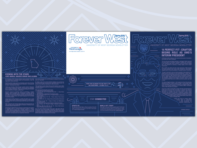 Forever West S2019 #1 print design newsletter vector single weight single line weight alumni design illustration uwg university of west georgia