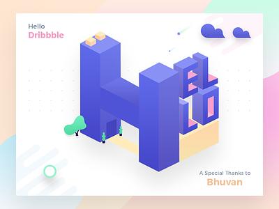 Hello Dribbble ~ My first shot isometric illustration chennai  designers designer hello dribbble corporate gunaux dribbble illustration building 3d ux debuts
