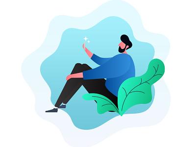 Mobile user at selfie moment chat user mobile illustration corporate chennai designers chennai designer chennai