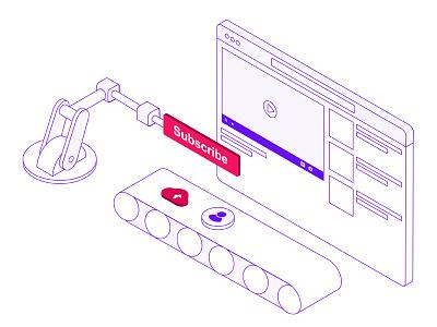 Isometric Illustration for video on demand solution video streaming video on demand illustration line isometric gunaux chennai designers chennai designer iot builder product website website
