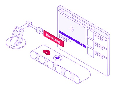 Isometric Illustration for video on demand solution