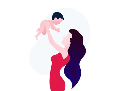 Young mom with her child illustration